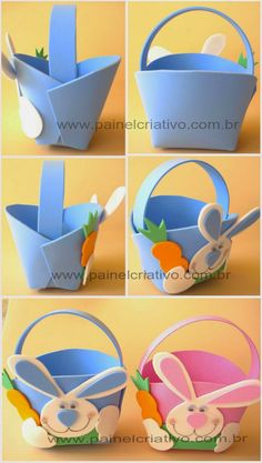 Ideas for Easter baskets and souvenirs Happy Easter, Easter Bunny, Easter Eggs, Easter Crafts For Kids, Diy For Kids, Foam Crafts, Diy And Crafts, Diy Ostern, Easter Projects