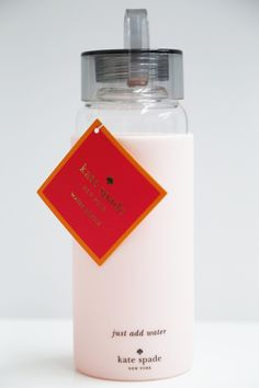 Glass Water Bottle Pink + Grey: Kate Spade
