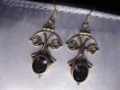 "3 CTW Amethyst 925 Sterling Silver 1.5"" Earrings Artisan Handcrafted 2"" Drop #Hook"