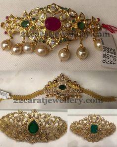 Below 30 Grams Bajuband cum Choker | Jewellery Designs