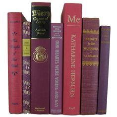 Purple Pink Decorative Books Vintage Book Decor Photo Prop Bookshelf... ($43) ❤ liked on Polyvore featuring books, pink home decor, purple home decor, vintage home accessories, vintage home decor and purple home accessories