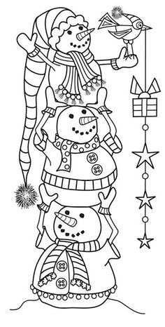 Hampton Art - Wood Mounted Stamp by Outlines - Snowman Tower or trace and color? Christmas Coloring Pages, Coloring Book Pages, Coloring Sheets, Christmas Colors, Christmas Art, Christmas Design, Family Christmas, Christmas Decorations, Illustration Noel