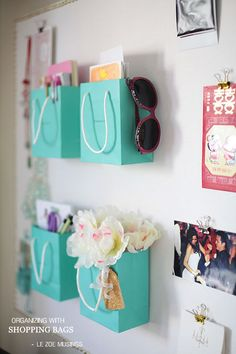 """Cubicle """"redo"""" idea using small shopping bags to store papers/pens/or cards"""