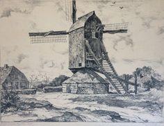 Litho van Edzard Koning afgebeeld de Doesburgermolen in Ede.