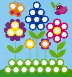 Plantillas para juegos con botones-flores Preschool Learning Activities, Spring Activities, Preschool Activities, Motor Activities, Do A Dot, Spring Theme, Thinking Day, Spring Crafts, Kids Education