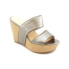 Women's Nine West , Larysa high Wedge slide sandals GREY 10 M