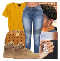 """"""""""" by kodakdej ❤ liked on Polyvore featuring Monki, MCM and NIKE"""