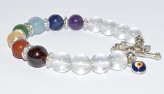 Seven Chakra Bracelet Evil Eye Charm Crystal Quartz by iyildiz, $20.00