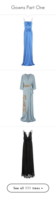 """Gowns Part One"" by k-amelia on Polyvore featuring dresses, gowns, blue, midi & long, gucci, blue sequin gown, wrap evening dress, wrap dress, blue sequin dress and blue ball gown"
