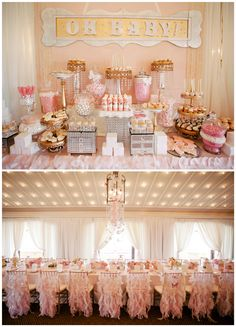 Pink and Gold Dessert Table for a Pink and Gold Birthday Party