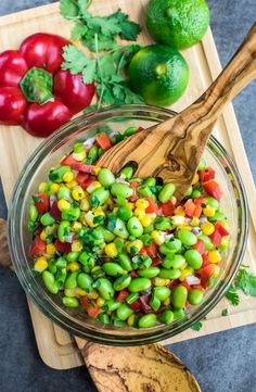 This healthy Edamame Salad is tossed with a homemade Cilantro Lime Dressing for a colorful side dish that's quick, easy, and crazy delicious!