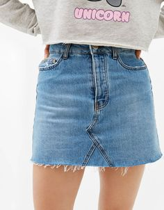 Vintage-style denim skirt. Discover this and many more items in Bershka with new products every week