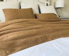 Golden Tan Linen Duvet Cover