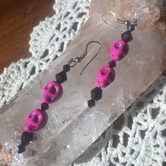 Handmade skull earringsPRICE DROP!!! Hot pink and black dangly handmade skull earrings!  Jewelry Earrings