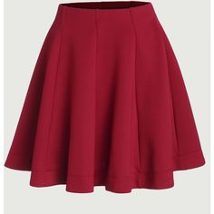 Red Vertical Panel Flare Skirt (€11) ❤ liked on Polyvore featuring skirts, red, short skirts, red skater skirt, skater skirt, circle skirts and flared skirt
