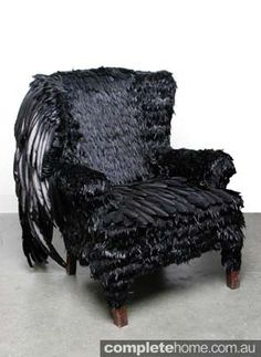This black feather chair is so wonderfully creepy.