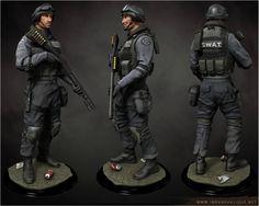 SWAT 3d Artist, Swat, Motorcycle Jacket, Cool Art, Game Art, Police, Model, Traditional, Image