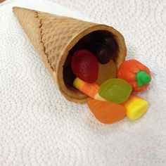 Teacher's Classroom Treat for the Holidays = horn with an abundance of fruit candy =  Great Food Crafts Kids can Do = 1 of 25 Fabulous Sweet & Savory Thanksgiving Snacks :: FineCraftGuild.com