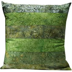 16 inch Pillow Sham Cover in Shades of Green Batik Fabrics by Sieberdesigns on Etsy #etsyhandmade