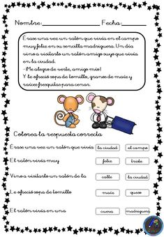 Fichas para trabajar la comprensión lectora - Imagenes Educativas Spanish Class, Teaching Spanish, First Grade Classroom, Kids Learning Activities, Kids And Parenting, Kindergarten, Homeschool, Teacher, How To Plan