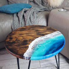 Epoxy Table Top, Epoxy Wood Table, Diy Table Top, Epoxy Resin Table, Wood Resin, Side Coffee Table, Side Tables, Family Room Walls, Resin Wall Art