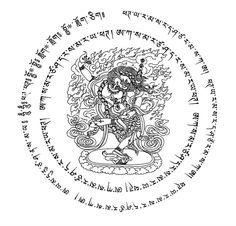 Chakra of Lion-faced Dakini (Skt. Senge'i gdong ma) protecting against evil spells and all kinds of obstacles . Tibetan Mandala, Tibetan Art, Tibetan Buddhism, Buddhist Art, Tibet Tattoo, Green Tara Mantra, Shoulder Tats, Tatto Ink, Sak Yant Tattoo