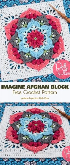 Imagine Afghan Block Free Crochet Pattern This is the next stunning afghan block designed by Polly Plum. Imagine is so rich in texture, that it looks like a block. Motifs Granny Square, Granny Square Pattern Free, Crochet Squares Afghan, Crochet Blocks, Granny Square Crochet Pattern, Afghan Crochet Patterns, Crochet Granny, Granny Squares, Ripple Afghan