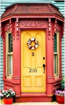 Lunenburg, Nova Scotia, Canada / view beautiful custom door hardware handcrafted by master artisans > balticacustomhard. Cool Doors, Unique Doors, Entrance Gates, Entry Doors, Yellow Doors, House Front Door, Knobs And Knockers, Door Gate, Mellow Yellow