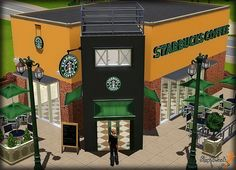 Starbucks Coffee Store in The Sims 3... whoever made this is amazing! lol, this is too cool :D
