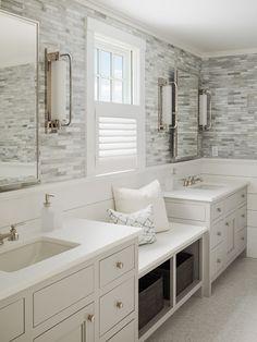 Master Bathroom Beach House the master bathroom tile simulates the hardwood floor in the main
