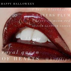 Halloween LipSense Combo - Royal Queen of Hearts. 1 Layer Blackberry, 2 Layers Plum, 1 Layer Crimson Red, topped with Silver Glitter Gloss. To order: www.hoffbeautyco.com