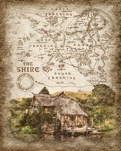 The Shire Map of Hobbiton Mill Art,Lord of the Rings Art Poster Map,The Hobbit Art Map,Gift,Wall Art Hobbit Art, O Hobbit, Middle Earth Map, Map Wallpaper, Fantasy Map, Jrr Tolkien, Lord Of The Rings, Printable Art, Vintage World Maps