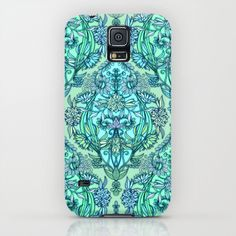 Botanical Moroccan Doodle Pattern in Mint Green, Lilac & Aqua iPhone & iPod Case