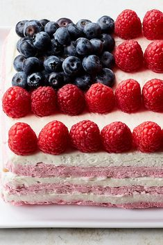 whipped cream, purée, saltines and fresh fruit, this easy icebox cake balances bright, fresh flavors with tangy cream cheese. Saltine Crackers, Graham Crackers, Raspberry Whipped Cream, Cod Cakes, Icebox Cake Recipes, Flag Cake, Blueberry Compote, Sour Cream Cake, No Churn Ice Cream