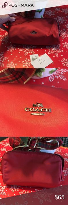 """~Red~ Coach Cosmetic Bag True Red nylon cosmetic bag by Coach New York. Zipper top, 3 leather tabs and snap pocket inside. 8.5"""" W x 6.5"""" T x 3"""" Deep. Retired Bag. COACH Bags Cosmetic Bags & Cases"""