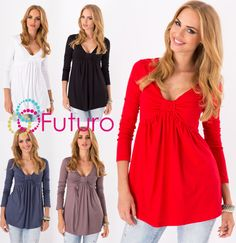 Women s Bubble Top V Neck Long Sleeve Tunic Jumper Casual Blouse Sizes 8-18 8549