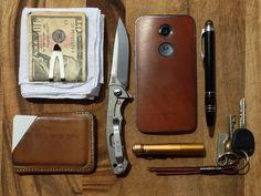 Hankie + Money Clip w/Cash + MAKR••Leather Wallet + ZT 0450 + 2014 Moto X w/Natural Leather Case + Montblanc••Starwalker Ballpoint + 4Sevens••Preon P1 + Keys