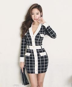 BUTTON FRONT CHECK DRESS