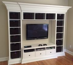 As the kids got older we needed to update their playroom to include an entertainment center for watching movies and playing video game.