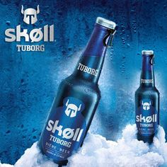 "Skoll beer was thinking for young people. The bottle is blue with a metallic effect, which gives a modern side and is reminiscent of the energy drinks. This gives to this beer a dynamic effect. In addition there is an easy opening thought for young people like gourds.  The logo is a robot that recalls ""Thor"" the Marvel heroes that again refer to the target: Youth."