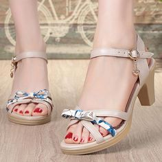 Chunky Heel Open Toe Date Adjustable Buckle Pu Sandals High Heels For Prom, Cute High Heels, Womens High Heels, High Heels Stilettos, Strappy Heels, Blue Sandals, Open Toe Sandals, Comfortable High Heels