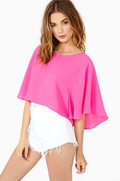 Flutter Crop Blouse - Fuschia   Shop Cropped at Nasty Gal