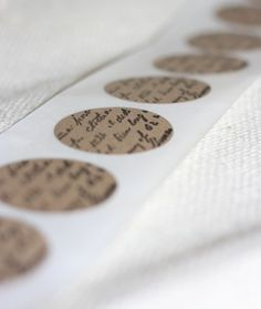 kraft round seals for wedding FRENCH WORDSx12, kraft stickers for soaps, invitations, wedding, baked goods. $5.00, via Etsy.