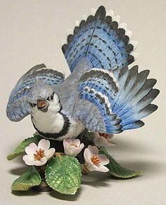 lenox figurines | Lenox GARDEN BIRDS FIGURINE Blue Jay 1986 73214