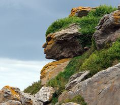 Natural Pareidolia - This Rock formation in France closely resembles a human face