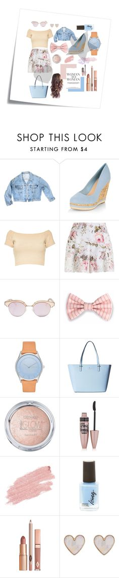 """""""Woman To Woman"""" by florkaks on Polyvore featuring Post-It, GUESS, New Look, Alice + Olivia, Zimmermann, Le Specs, Skagen, Kate Spade, Maybelline and Jane Iredale"""