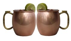 Moscow Mule Drinking Mugs Copper Plated 16 Oz Smooth Finish Thumb Handle Set Of2 #Buddha4all