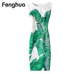 Fenghua Vintage Casual Elegant Sexy Women Summer Dress Plus Size 2017 Floral Party Dresses Slim O-neck Pencil Bodycon Dress