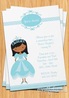 African American Princess Birthday Party Invitation