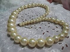 Big chunky cream color graduated pearls vintage long statement